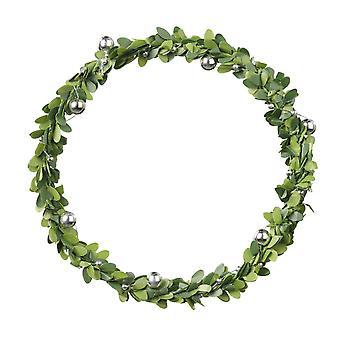 12cm Runder Kranz | Künstliche Blätter & Silber Dekoration