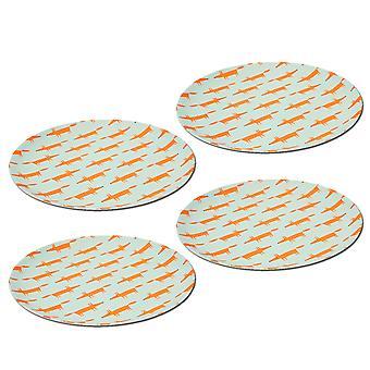 Scion Mr Fox Bamboo Plates Set of 4 Blue