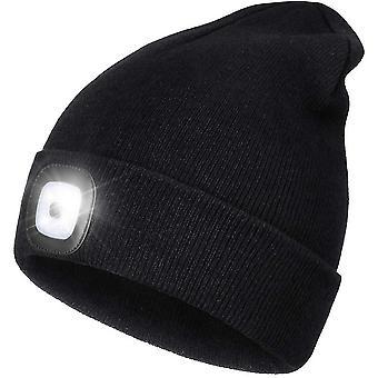 כובע כובע כובע בהיר עם תאורת LED, כובע פנס קדמי מואר יוניסקס ידיים ללא פנס (שחור)
