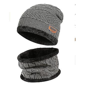 2-pieces Winter Beanie Warm Knit Thick Fleece Cap And Neck Collar For Child(Gray)