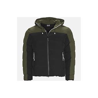 Emporio Armani EA7 Down Hooded Puffer Jacket Zip Up Black/khaki
