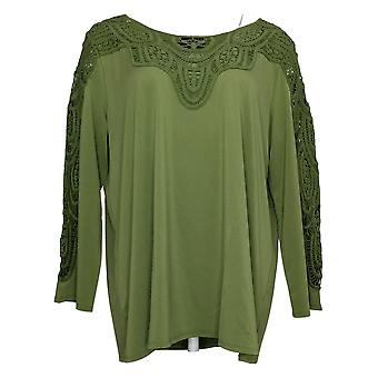 Antthony Women's Top Bracelet-Sleeve Crochet Knit Tunic Green 716479