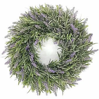 Corona di lavanda artificiale, piante artificiali, piante verdi, decorazioni per la casa, piante da sposa, decorazioni murali, fiori artificiali (ghirlanda di lavanda nebbiosa)