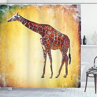 Giraffe Shower Curtain, Retro Landscape, Fabric Bathroom Decoration Set With Hooks Color 120x180 Cm