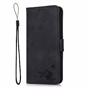 Coque pour Samsung Galaxy S20 Wallet Flip Pu Housse en Cuir Support de Carte Coque Etui - Chat Noir