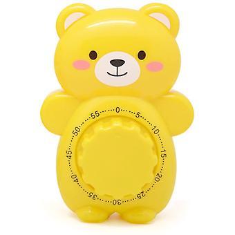 Lindos temporizadores de oso de dibujos animados 60 minutos cocina mecánica Temporizador de cocina Reloj de alarma fuerte Contadores de alarma Temporizador manual (amarillo)
