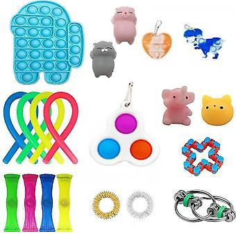 20st Roliga extrudering Fidget Leksaker Set Push Pop Bubble Stress Relief Leksaker