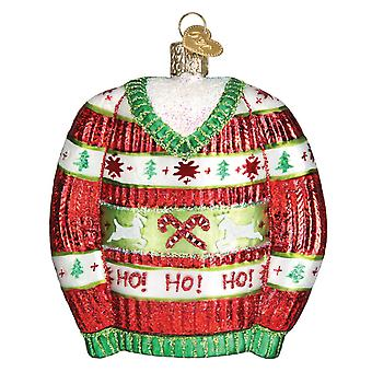 Old World Christmas Festive Red and Green Tacky Sweater Ornament Glass 4 Inches