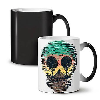 Nature Tree Birds Skull NEW Black Colour Changing Tea Coffee Ceramic Mug 11 oz | Wellcoda