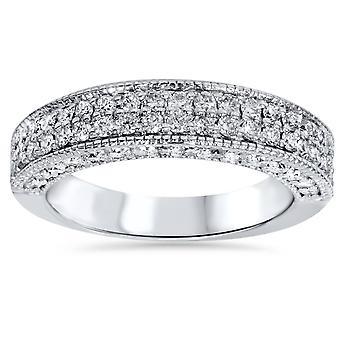 1 1/10ct Pave Diamond Wedding Ring 14K White Gold