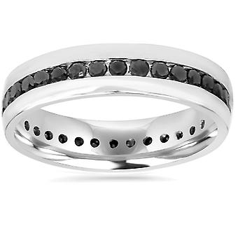 Mens 1 1/4ct Channel Set Black Diamond Eternity Ring Wedding Band 10K White Gold