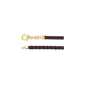 14 קאראט זהב צהוב Brwn מחרוזת עור קלועה שרשראות 18 תכשיטים מתנות לנשים-1.4 גרם