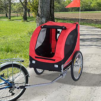 PawHut Steel Dog Bike Trailer Pet Cart Carrier for Bicycle Jogger Kit Water Resistant Travel Black and Red
