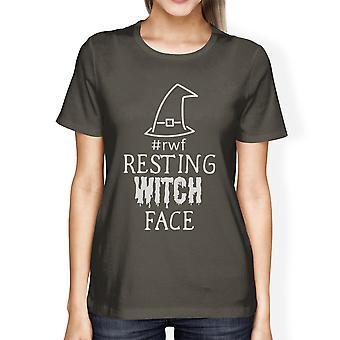 يستريح الساحرة الوجه لطيف المرأة هالوين قميص كم قصير الرسم