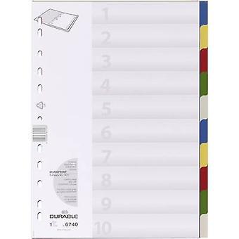 Kestävä 6740 indeksi A4 tyhjä polypropeeni monivärinen 10 jakajat 674027