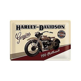 Harley Davidson Flathead præget stål underskrive 200 Mm X 300 Mm