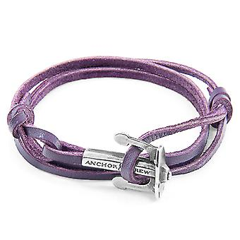 Anchor & Crew Grape Purple Union Anchor Silver and Flat Leather Bracelet