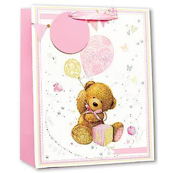 Simon Elvin Baby Girl Large Glitter Gift Bags (Pack Of 6)