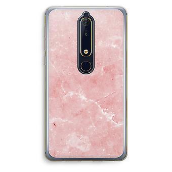 Nokia 6 (2018) gjennomsiktig sak (myk) - rosa marmor