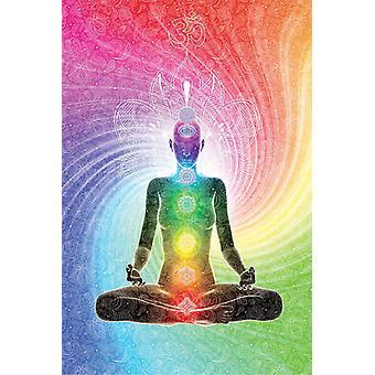 Seitsemän chakra juliste meditaatio