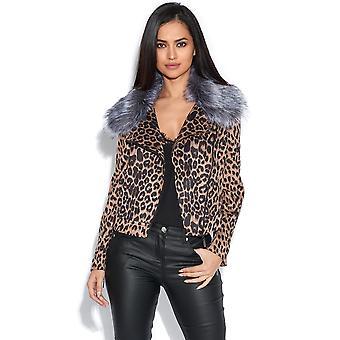 Leopard Jacket with Detachable Faux Fur Collar
