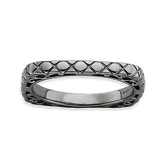 2.25mm 925 Sterling Argent Motif Ruthenium placage Empilable Expressions Polished Black plaque Square Ring Bijoux G