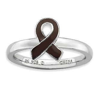 925 Sterling Silver Polished Rhodium-plated Stackable Expressions Brown Enameled Awareness Ribbon Ring - Ring Size: 5 to