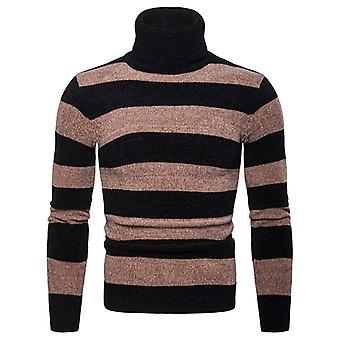 Cloudstyle Men's Pullover Striped High Neck Cotton Knitted Sweater