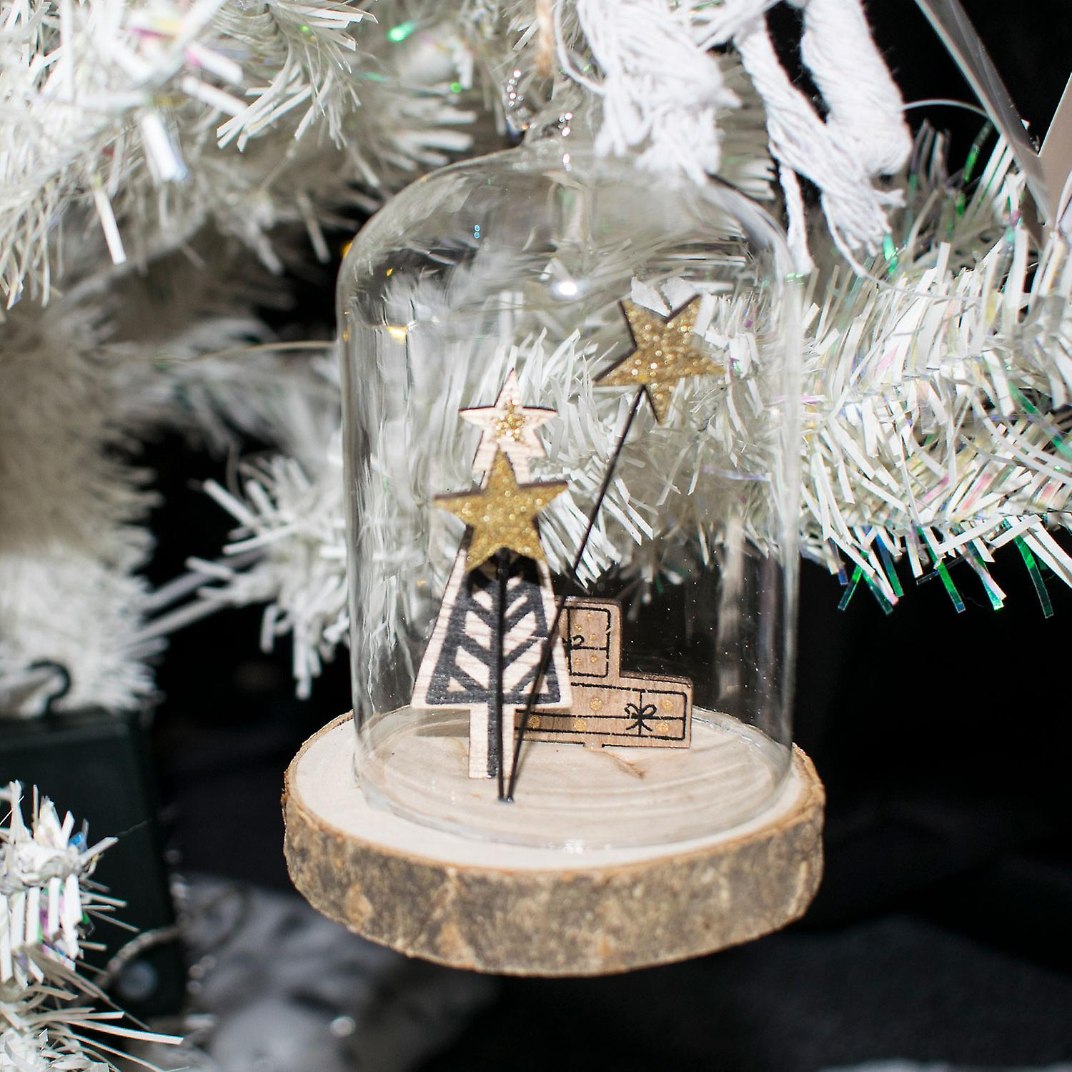 TRIXES Glass Tree Present Hanging Christmas Decoration