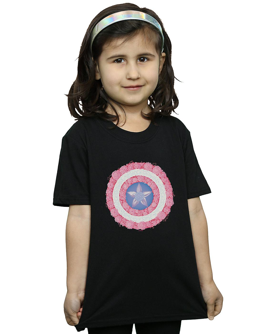 Marvel Girls Captain America Flowers Shield T-Shirt