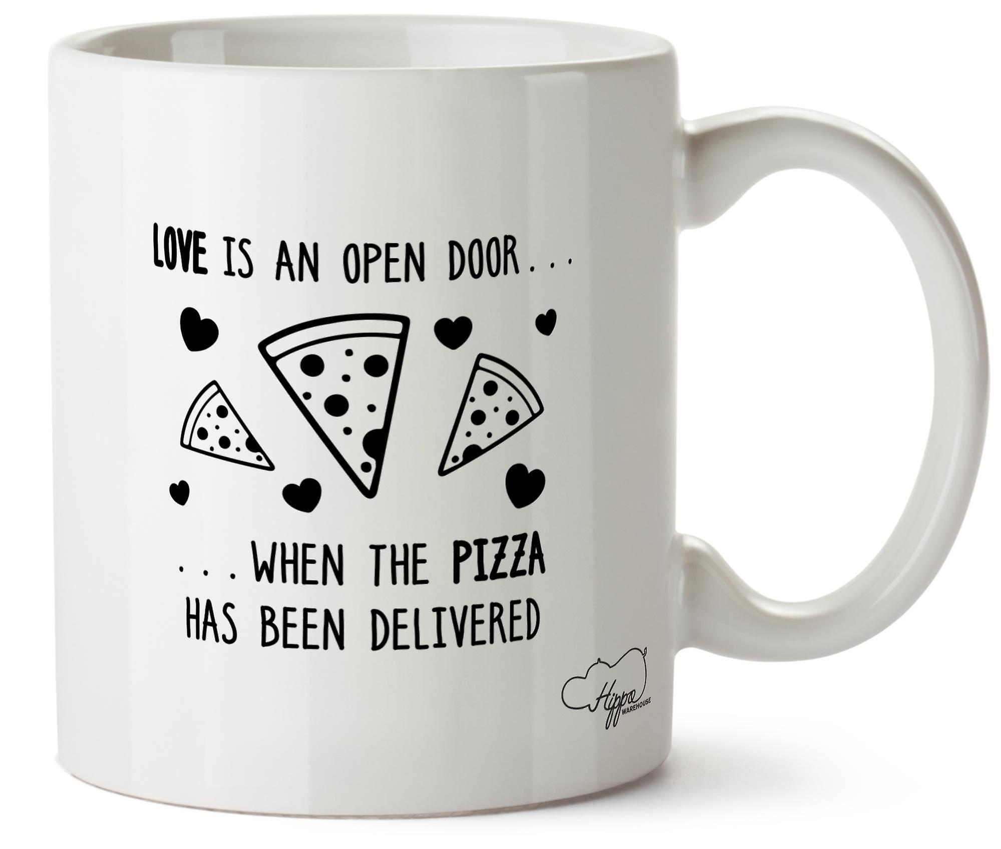 Hippowarehouse любовь это открытая дверь... Когда Пицца была доставлена печатных кружка Кубок керамические 10oz