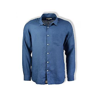 Far Afield Classic Long-Sleeved Linen Shirt (Ensign Blue)