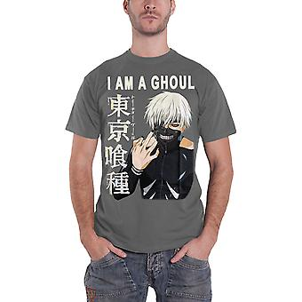 Tokyo Ghoul T Shirt I Am A Ghoul kaneki Haise Sasaki Official Manga Mens Grey