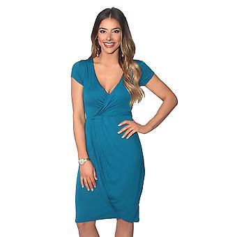 KRISP Womens V Neck Wrap Front Top Jersey Midi Dress Cap Sleeve Pleated Skirt Party