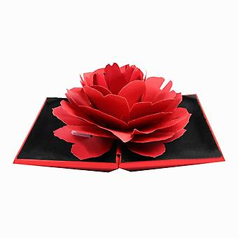 Ring box with 3D rose in paper-red