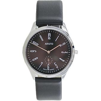 Aristo Bauhaus 1069 Men ' s Watch aço inox 4H193 couro
