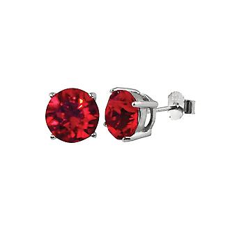 Eternal Collection Starlet Sterling Silver Lt Siam Red Austrian Crystal Solitaire Stud Earrings