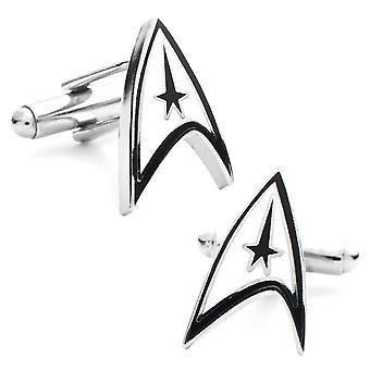 Star Trek logo emalje og rhodium belagte manchetknapper