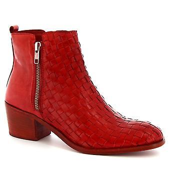 Bottines à talons de Leonardo Chaussures femmes en cuir de veau tissé rouge