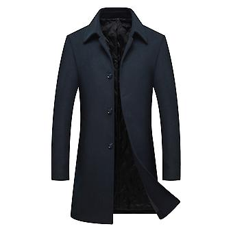 Allthemen Mens Casual Slim Fit Thick Knit Wool Trenchcoat Black