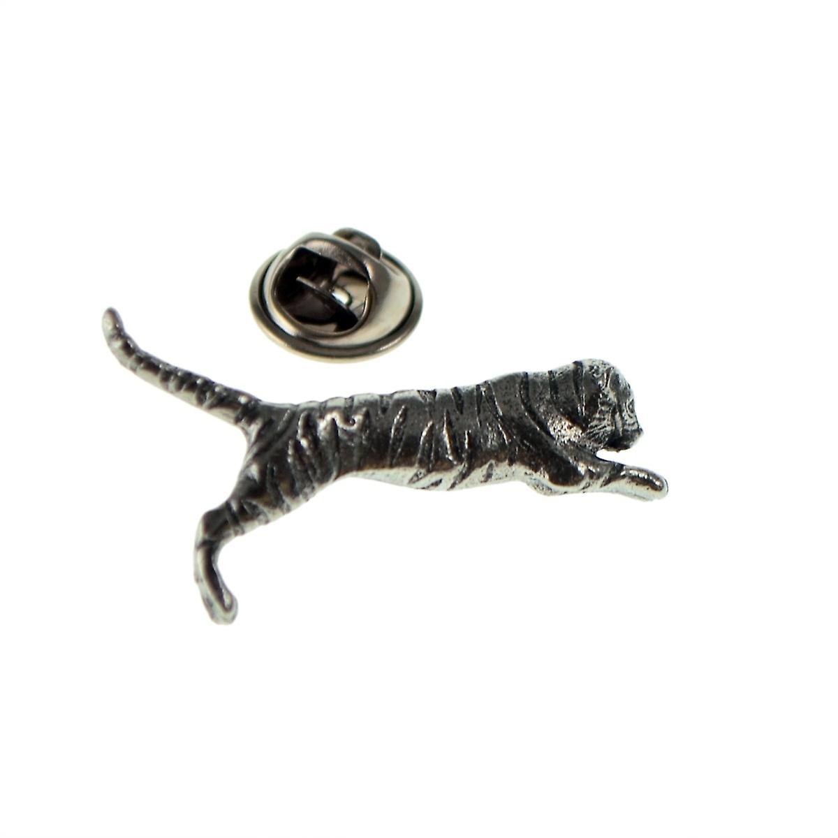 Tiger English Pewter Lapel Pin Badge