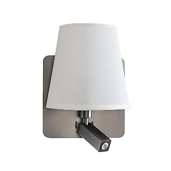 Mantra Bahia Wall Lamp With Large Back Plate 1 Light E27 + Reading Light 3W LED With White Shade Satin Nickel 4000K, 200lm,, 3yrs Warranty