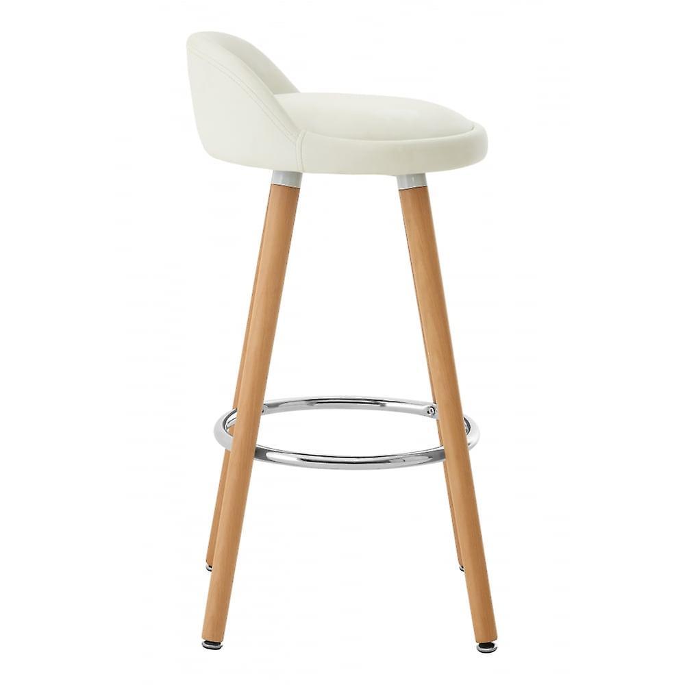 Fusion Living Contemporary White Faux Leather Bar Tabouret avec jambes de hêtre