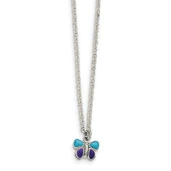 925 Sterling Silver Enamel Butterfly With 1.5in Ext Necklace 15 Inch - 3.1 Grams