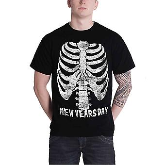 New Years Day T Shirt Rib Cage Band logo Official Mens New Black