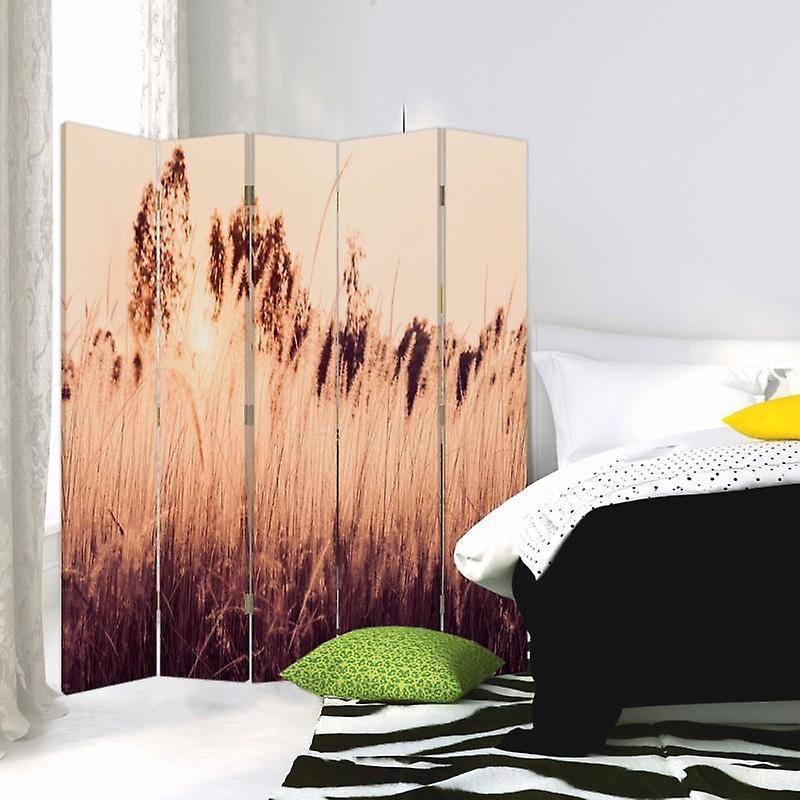 Diviseur de chambre, 5 panneaux, double-sided, 360 rotatable, toile, haute herbe