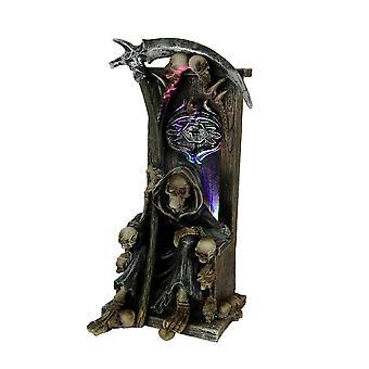 Grim Repaer Sitting On Skulls Throne Color Changing LED Statue