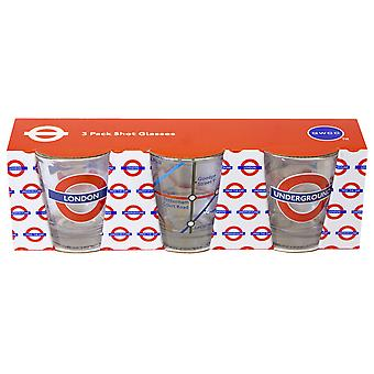 Licensed tfl underground tube map london set of 3 shot glasses