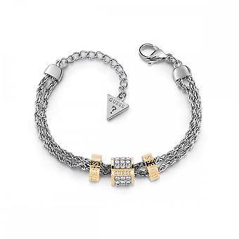 Guess Jewellery Guess Double Silver Chain Bracelet With 3 Gold Beads UBB78059-L
