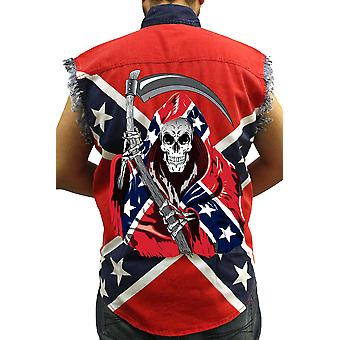 Men's Confederate Rebel Flag Sleeveless Denim Shirt Grim Reaper Southern Pride